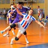 GALATI, ROMANAIA - 08 MEI: De niet geïdentificeerde voetbalsters concurreren Stock Foto's