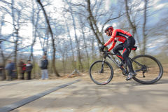 GALATI, ROMANIA - APRIL 04: Unknown racers on the competition of. The mountain bike XC Garboavele 2015 on APRIL 05, 2015 in Galati, Romania stock photography