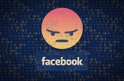 GALATI, ROMANIA - 10 APRILE 2018: Edizioni di protezione dei dati e di segretezza di Facebook Concetto di encription di dati illustrazione di stock