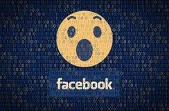 GALATI, ROMANIA - 10 APRILE 2018: Edizioni di protezione dei dati e di segretezza di Facebook Concetto di encription di dati royalty illustrazione gratis