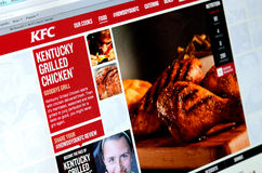 GALATI, ROMANIA - SEPTEMBER 28, 2014: Photo of KFC homepage on a Royalty Free Stock Photos