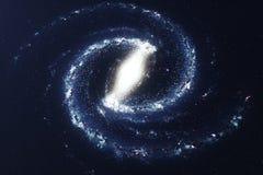 galax för illustration 3D i djupt utrymme Spiralgalax som består av stjärnadamm, nebulosa av gas Begrepp av loppet för djupt utry Vektor Illustrationer