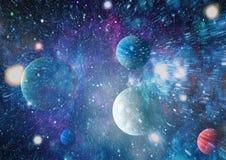 Galax och nebula abstrakt bakgrundsavstånd Beståndsdelar av denna avbildar möblerat av NASA Arkivfoto