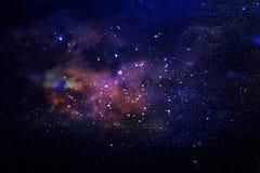 Galax och nebula Stjärnklar yttre rymdbakgrundstextur Arkivfoton