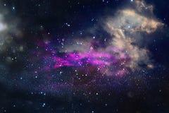 Galax och nebula Stjärnklar yttre rymdbakgrundstextur Royaltyfria Bilder
