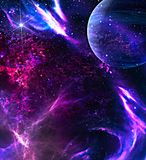 Galaxbakgrund med planeten Royaltyfri Foto
