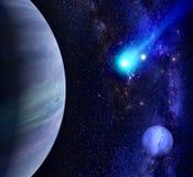 Galaxbakgrund med planeten och komet Royaltyfri Fotografi