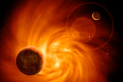 Galaxia ardiente con los planetas Imagenes de archivo