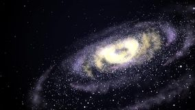Galaxia brillante que hace girar en el espacio abierto metrajes
