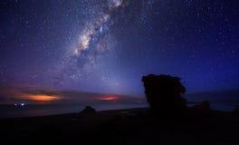 Galaxia de Milkyway con el cielo nocturno azul Imagen de archivo libre de regalías