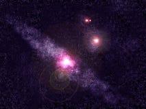 Galaxia del Andromeda y fondo azules del espacio de las estrellas ilustración del vector