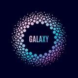 Galaxia del cartel del vector Marco del círculo de Halfton Fotos de archivo