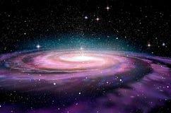 Galaxia espiral en espacio profundo, ilustración del vector
