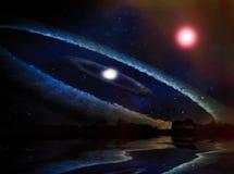 Galaxia espiral y estrellas en espacio de la superficie del planeta Foto de archivo libre de regalías