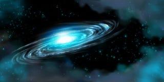 Galaxia espiral y estrellas en negro Imagen de archivo libre de regalías