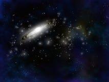 Galaxia espiral y estrellas en negro Foto de archivo