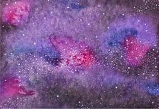 Galaxia o vía láctea Espacio de la acuarela o cósmico Imagen de archivo libre de regalías