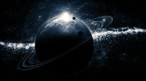 Galaxia-Planeta-anillos Fotos de archivo