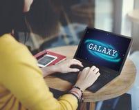 Galaxie-Astronomie-Geschäfts-Bildungs-Grafik-Konzept Stockbilder