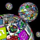 Galaxie d'Apps - plusieurs sphères Image stock