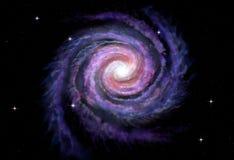 Galaxie en spirale, illustration de manière laiteuse Photos stock