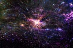 Galaxie lisse de thème foncé abstrait artistique avec un fond central rougeoyant photographie stock libre de droits