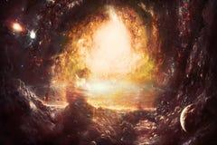 Galaxie multicolore artistique de nébuleuse de résumé à l'arrière-plan d'espace lointain illustration libre de droits