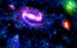 Galaxie spiralée avec des nébuleuses Photographie stock