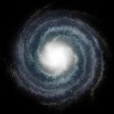 Galaxie spiralée bleue contre l'espace noir Photos libres de droits