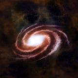 Galaxie spiralée rouge contre l'espace noir Image stock