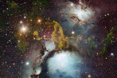 Galaxie, starfield, n?buleuses, groupe d'?toiles dans l'espace lointain Art de la science-fiction photographie stock