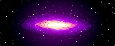 Galaxie, étoiles et nébuleuse roses Photographie stock