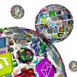 Galaxie von Apps - Kugeln von Anwendungen Lizenzfreies Stockbild