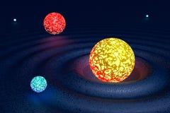 Galaxie von den varicoloured Planeten vektor abbildung