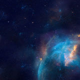 Galaxieillustration, Raumhintergrund mit Sternen, Nebelfleck, Kosmos bewölkt sich stock abbildung