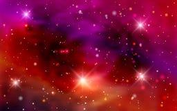 Galaxies cosmiques de fond, nébuleuse et étoiles brillantes Photo libre de droits