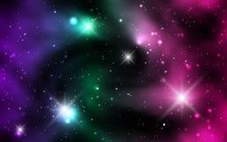 Galaxies cosmiques de fond, nébuleuse et étoiles brillantes Photos libres de droits