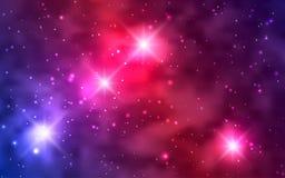 Galaxies cosmiques de fond, nébuleuse et étoiles brillantes Photographie stock libre de droits