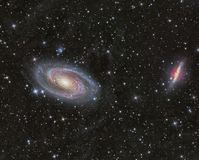 Galaxies M81 and M82. Imaged with a telescope and a scientific CCD camera vector illustration