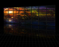 Galaxies and stars on screens Royalty Free Stock Photography