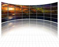 Galaxies and stars on screens Stock Photo