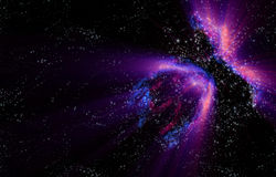 Galaxy. Northern lights in the black space of the galaxy Stock Photography