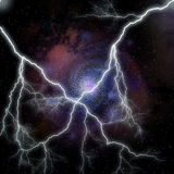 Galaxy. Lightning against galaxy (fantastic kind of a nonexistent galaxy stock images