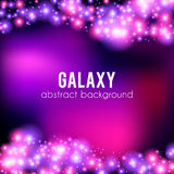 Galaxy abstract background with sparkling pink. And purple, glitter and rays lights, copyspace for elegant Valentines day card Vector Illustration