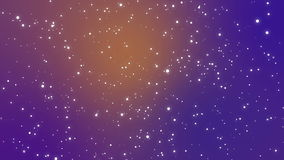 Galaxy animation with light particle stars on purple orange gradient background. Festive starry night sky animation with glowing white dot particles flickering stock footage