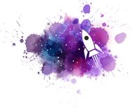 Galaxy background with rocket. Stock Photo