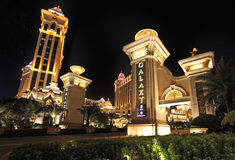 Galaxy casino and hotel entrance by night, Macau Royalty Free Stock Photos