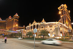 Galaxy casino and hotel entrance by night, Macau Stock Photos