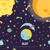 Galaxy Conceptual Cartoon Vector Web Page Template. Galaxy cartoon web template. Spaceship flying in outer space among stars, comets, Earth, Moon, Sun vector Stock Photography
