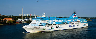 Galaxy cruise ship leaving the Port of Stockholm Royalty Free Stock Images